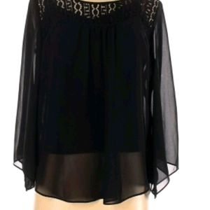 Alyx black sheer blouse with bell sleeves